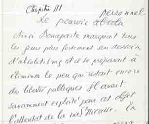 Bonaparte : Manuscrit de Jaurès