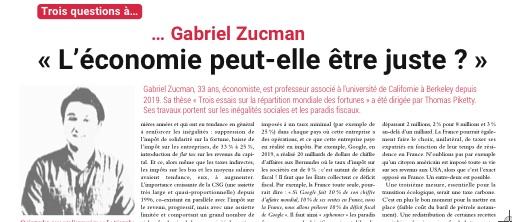 « L'économie peut-elle être juste ? », Trois questions à… GABRIEL ZUCMAN