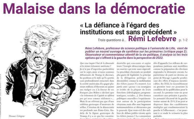 « La défiance à l'égard des institutions est sans précédent » Trois questions à…  REMI LEFEBVRE par ISABELLE THIS-SAINT-JEAN
